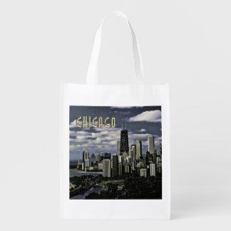 TEXTO Chicago del horizonte de Chicago que brilla Bolsa Para La Compra
