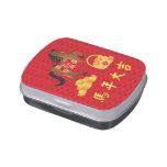 Texto chino del caballo del Año Nuevo con lata de  Jarrones De Caramelos