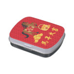 Texto chino del caballo del Año Nuevo con lata de  Frascos De Caramelos