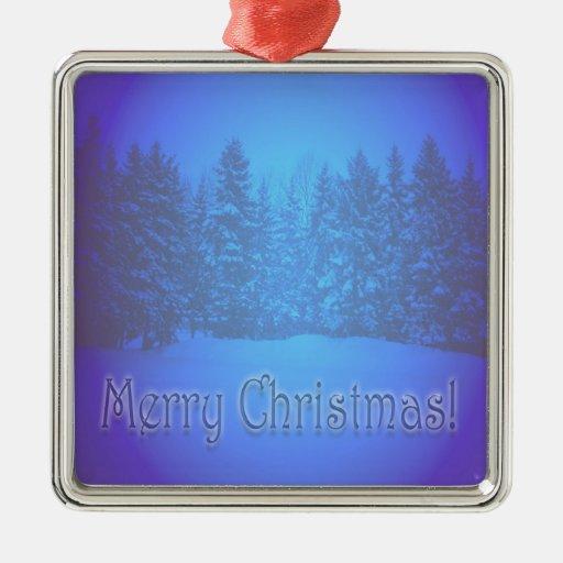 Texto claro azul de los árboles de pino ornamento de navidad