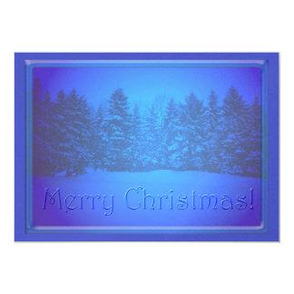 """Texto claro azul de los árboles de pino invitación 5"""" x 7"""""""