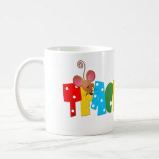 Texto colorido del profesor ratones lindos tazas de café