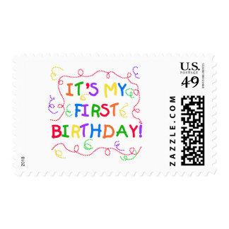 Texto colorido es mi primer cumpleaños envio