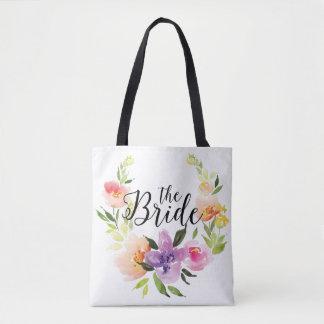 Texto colorido moderno de la novia de la bolsa de tela