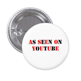 Texto-Como visto en YouTube - rojo/negro Pin Redondo De 1 Pulgada