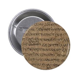 Texto con la escritura antigua, papel viejo del pe pin redondo 5 cm