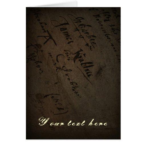 Texto con la escritura antigua, papel viejo del pe tarjeta