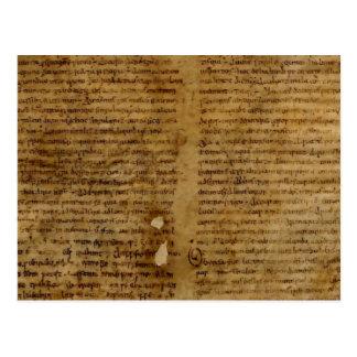 Texto con la escritura antigua, papel viejo del tarjeta postal