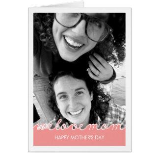 Texto cortado mamá rosada del amor de la foto del  tarjeta