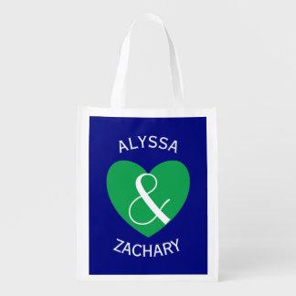 Texto curvado corazón verde moderno Z03 de novia y Bolsas Para La Compra