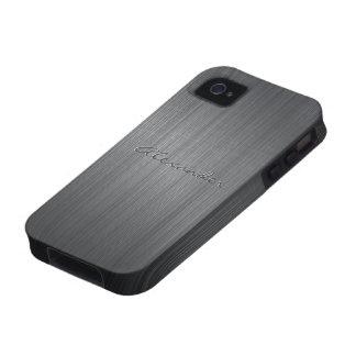 Texto de aluminio cepillado negro del vibe iPhone 4 carcasas