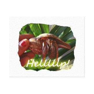 Texto de ayuda del cangrejo y de ermitaño, diseño  impresión en lienzo
