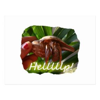 Texto de ayuda del cangrejo y de ermitaño, diseño postales