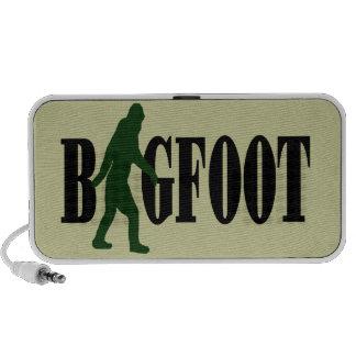 Texto de Bigfoot y gráfico verde del squatch Laptop Altavoz