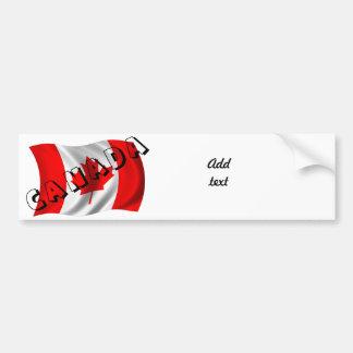 Texto de CANADÁ en bandera canadiense Etiqueta De Parachoque