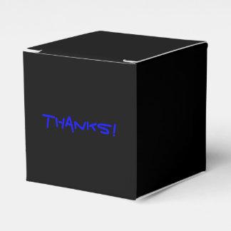 Texto de encargo azul de la caja negra simple del caja para regalo de boda