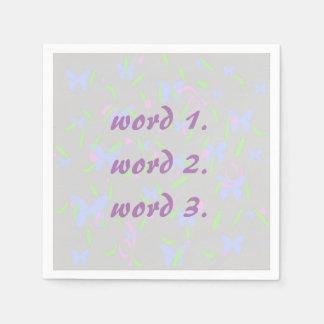 Texto de encargo en modelo de la lila con los servilleta desechable