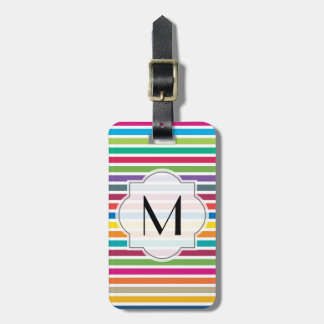 Texto de encargo - rayas coloridas del caramelo etiquetas de maletas