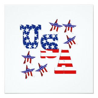 """Texto de la bandera americana de los E.E.U.U. con Invitación 5.25"""" X 5.25"""""""