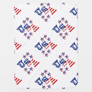 Texto de la bandera americana de los E.E.U.U. con Mantas De Bebé