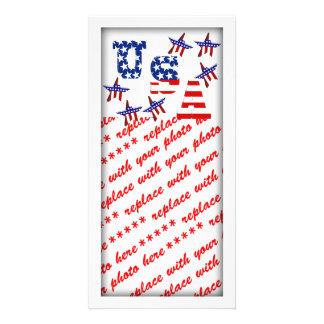 Texto de la bandera americana de los E.E.U.U. con Tarjetas Personales Con Fotos