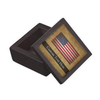 Texto de la bandera americana w/Custom del vintage Caja De Joyas De Calidad