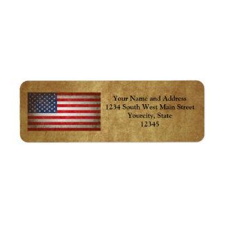 Texto de la bandera americana w/Custom del vintage Etiquetas De Remite