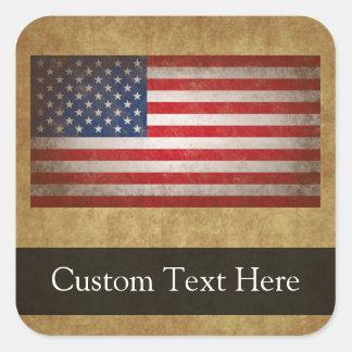 Texto de la bandera americana w/Custom del vintage Pegatina Cuadrada