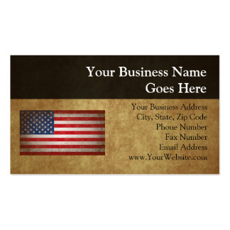 Texto de la bandera americana w/Custom del vintage Tarjetas De Visita