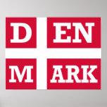 Texto de la bandera de Dinamarca Posters