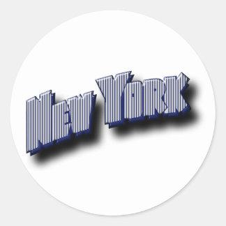 Texto de la bandera de Nueva York Pegatina Redonda