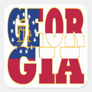 Texto de la bandera del estado de Georgia Pegatina Cuadrada
