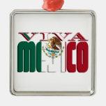Texto de la bandera mexicana de VIVA MEJICO Ornamento De Reyes Magos