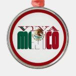 Texto de la bandera mexicana de VIVA MEJICO Ornamento De Navidad
