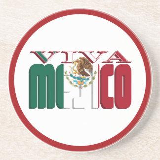 Texto de la bandera mexicana de VIVA MEJICO Posavasos Cerveza
