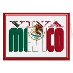 Texto de la bandera mexicana de VIVA MEJICO Tarjeta De Felicitación