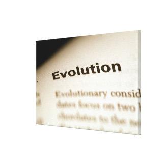 Texto de la evolución en la página impresión en lienzo