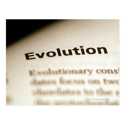 Texto de la evolución en la página tarjeta postal