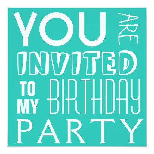 """Texto de la fiesta del cumpleaños del chica azul invitación 5.25"""" x 5.25"""""""