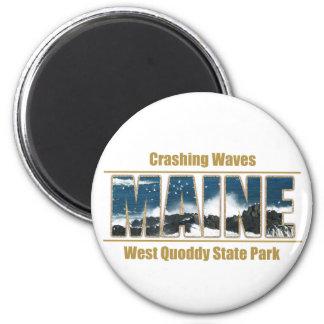 Texto de la imagen de Maine - el estrellarse de la Imán Redondo 5 Cm