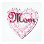 """Texto de la """"mamá"""" en corazón atado invitación 13,3 cm x 13,3cm"""