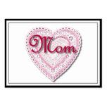 """Texto de la """"mamá"""" en corazón atado tarjetas de visita grandes"""