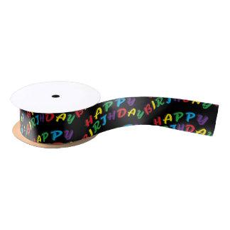 Texto de la palabra del feliz cumpleaños lazo de raso