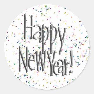 Texto de la plata de la Feliz Año Nuevo Pegatina Redonda