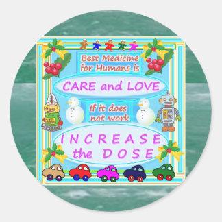 Texto de la sabiduría: Amor humano del cuidado n Pegatina Redonda