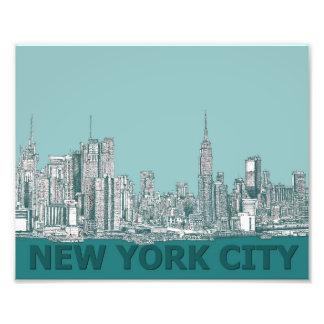 texto de la turquesa NYC Impresion Fotografica