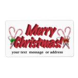 Texto de las Felices Navidad con los bastones de c Etiquetas De Envío