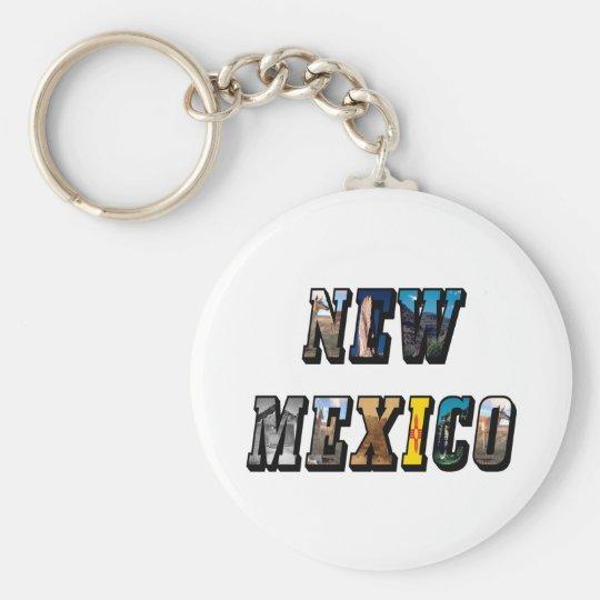Texto de New México, los E.E.U.U. Llavero Redondo Tipo Pin