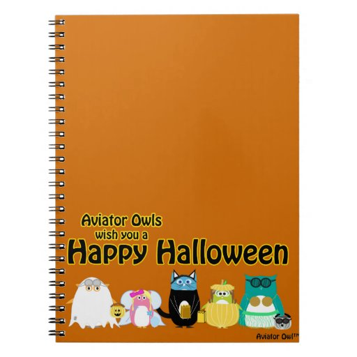 Texto de Owl™ Halloween W. del aviador Cuaderno