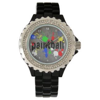 Texto de Paintball en gris con las salpicaduras Relojes De Pulsera